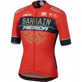 Maillot Bahrain Merida 2018 BodyFit team rojo